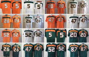 NCAA Mens 5 JOHNSON 20 Ed Reed 52 Ray Lewis 26 Sean Taylor 47 IRVIN 87 WAYNE College Miami Hurricanes мужские футбольные майки