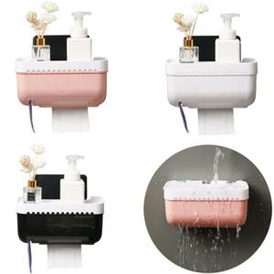 가족 욕실 쉬운 설치 화장지 롤 홀더 욕실 스토리지 박스 케이스 티슈 박스 디스펜서 방수
