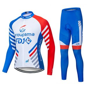 2020 pro team groupama FDJ cycling jersey kits long sleeve Ropa Ciclismo quick-dry MTB bike clothing 9D GEL pad sets