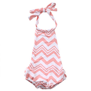Filles Halter Striped Bodysuit Nouveau-né bébé mignon Belle One Piece Backless Bracelet Volants Vêtements Outfit Sunsuit Maillots de bain