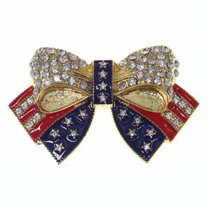 Vergoldung-Kristallemaille American Flag Bow Pin USA Flagge Brosche USA Flagge Brosche Patriotische Veteran Schmuck, Kampagne Pin