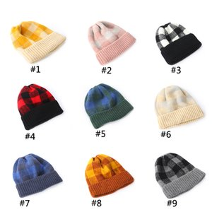 Women's Knitted Hats Autumn And Winter Family Warm Hats Korean Warm Colors Plaid Stripes To keep Warm BFJ660