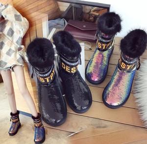 Yeni Varış Sıcak Satış İndirimdeki Süper Moda Akını Lüks Martin Artı Kadife Kar Sıcak Gelgit Pullu Pamuk Rahat Ayak Bileği Çizmeler EU36-40