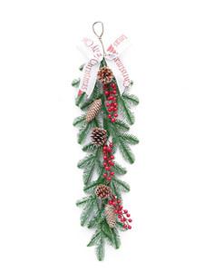 Noël vert en rotin résine de cône de pin en rotin Verdure Fenêtre Porte pendentif pour mariage Backdrop décorations