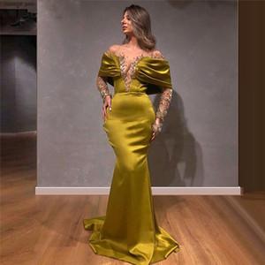 새로운 사우디 아라비아 공주 구슬 댄스 파티 드레스 2020 환상 긴팔 티셔츠 세련된 이브닝 드레스 플러스 사이즈 두바이 Abiye 공식 파티 드레스 1433