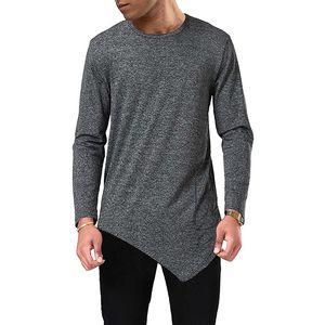 Стильная мужская Tshirts Mens конструктора Нерегулярное футболки Осень мода весна O-образным вырезом с длинными рукавами Тис Основные Tops