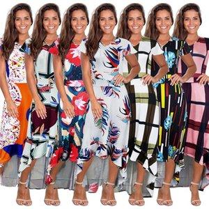 غير النظامية OL نمط اللباس الإناث عارضة الازياء الملابس النسائية 3D طباعة مصمم اللباس الصيف هايت واسط