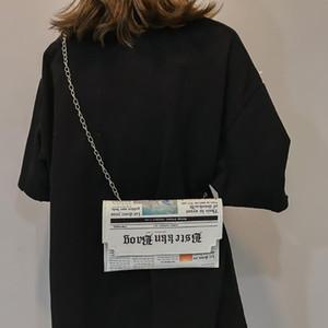 Moda feminina bolsas e bolsas 3d jornal impresso Moda Streetwear Mini Messenger Bag Personalidade quadrado pequeno saco
