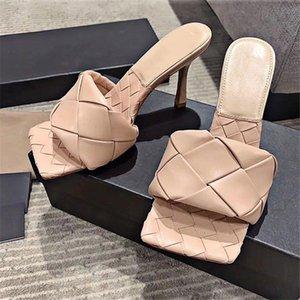 Punta quadrata Weave pantofole donne del cuoio genuino esterna in pelle di mucca superiore di pecora Soletta sandali delle signore diapositive