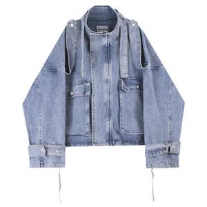 Erkek ceketler Moda Klasik Denim Ceket Big Cep Lacing Bandaj Tasarımı Sokak Giyim Gevşek Ceket M-XL Yıkanmış