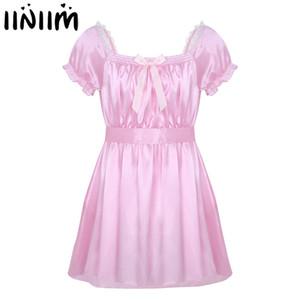 남성 섹시 란제리 속옷 드레스 Babydoll 의상 반짝 이는 Crossdress 남성 새시 게이 Bowknot 시시 팬티 속옷 J190612