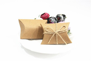 Fashion Hot Cute Kraft Paper Pillow Favor Gift Box Wedding Party Favour Gift Candy Boxes Paper Gift Box Bags Supply DHL Free