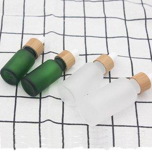 Botella de perfume 15ml 10 20 30ml clara helada vidrio con gotero con bambú Tapa Cap esencial botella de cristal esmerilado Aceite Verde EEA1625