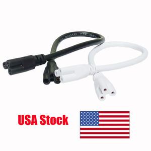Cable de conexión de la lámpara LED T5 T8 2 pies 60 cm blanco Cable de dos cabezas integrado Cable de tubo de conector proung de tres cables conectables