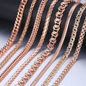 Catena a buon mercato Collane collana per i regali donna gioielli uomini collana di oro le donne 585 in oro rosa Curb Lumaca Catena di 45 50 centimetri 60 centimetri GNN1