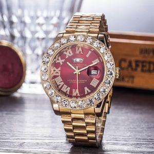 Reloj 새로운 손목 시계 남성 시계 최고 브랜드 디자이너 남성 다이아몬드 시계 디지털 빅 자동 Daydate 시계 여성 선물 다이얼 빨간색