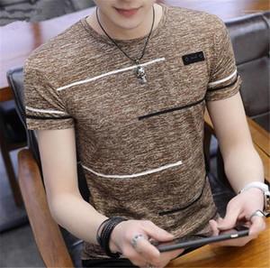 Rayas camisas cortas casual para hombre camisetas del verano del diseñador del Mens Camisetas para hombre con cuello redondo de manga corta