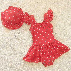 Baby Girls Swimsuits One Piece Swim Suit And Cap Girls Cute Red Dot Swimwear Skirt Beachwear Summer 2020 Kids Bathing Suits 2-9Y