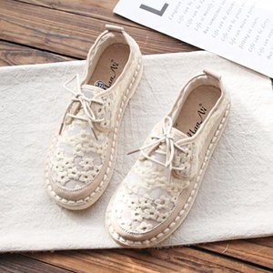 2019 summer new forest art casual white shoes lace embroidery lace flat female shoes tide