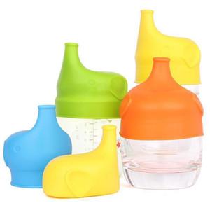 Heißen Kind-Kleinkind Baby-bewegliche Spill-Proof-Elefant Silikon Wiederverwendbare Cup Verschlussdeckel Baby-Trinktrainingswasserflasche Cup Zubehör