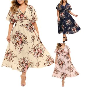 Womens Floral V-neck Summer Dress Woman Short Sleeve 5XL Elestic Waist Dresses Women Fashion Plus Size Holiday Clothes