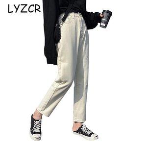 Lyzcr Boyfriend jeans per Beige Jeans a vita alta con 2019 di cotone femminili pantaloni da donna Denim Harem Pant Loose Women