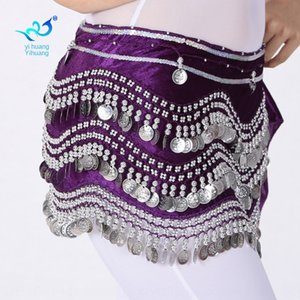 HQjy5 Belly basic sports scarf chain basic exercise waist chain Indian dance hip towel belly dance flannel silver coin wave 248 coin waist