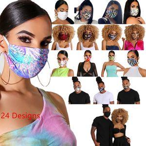 Diseñador de la cara de la máscara de la máscara de lujo lavable a prueba de polvo Equitación Ciclismo Deportes impresión floral Máscaras Moda para hombres y mujeres 10pcs