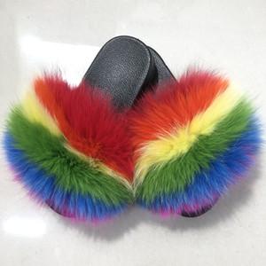 Al por mayor 100% real Fox zapatillas para niños invierno de la piel del niño Inicio Diapositivas niñas sliders.1pairs / 2pcs del mapache mullido Chinelo Pisos de playa del verano