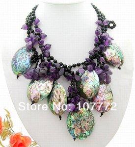 Женщин 3 пряди OnyxPurple CrystalPaua ушка Shell ожерелье