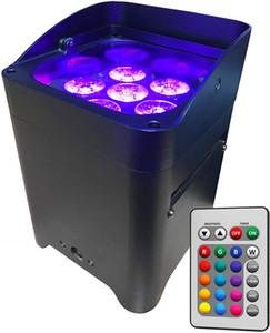 10PCS التطبيقات السيطرة uplighting عرافة 6 * 18W 6in1 RGABW UV LED البطارية العارض LED الاسمية مصباح لحفل الزفاف مع غطاء المطر