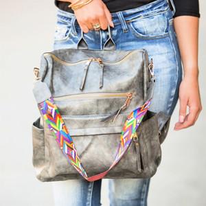 Mulheres Mochila Bolsa PU Washed Leather Back Pack Convertible Ladies Viagem Mochila Zipper bolso ombro saco de escola Bookbag DOM1404