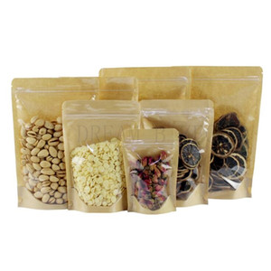 Kraft Paper Bag alimentare della barriera dell'umidità Borse a chiusura lampo di tenuta sacchetto di alimenti Imballaggio borse riutilizzabili di plastica anteriore Sacchetto trasparente
