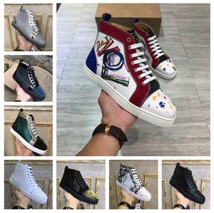 Kadınlar Erkekler Kırmızı Sole Alt Günlük Ayakkabılar Lüks Tasarımcı Çivili Dikenler Rhinestone Graffiti Sneakers Yüksek Top Süet Deri Sneakers Ayakkabı