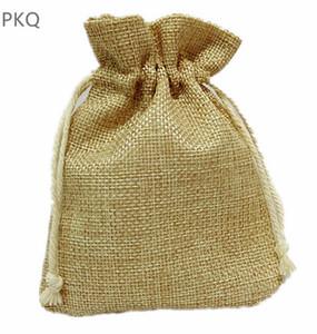 10 pcs Natural Saco de Serapilheira Saco de Embalagem de Jóias Com Cordão Pequeno Presente para Sachê / Anel Sacos de Armazenamento Drawable Fontes Do Casamento