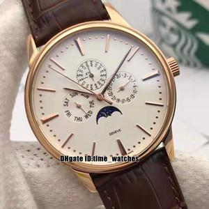 NUEVA 42mm Patrimonio de lujo 43175 / 000R-9687 relojes deportivos multifunción para caballero reloj automático para hombre caja de oro rosa Correa de piel fases de la luna