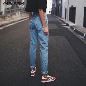 I jeans del fidanzato delle signore dell'annata per le donne mamma della mamma dei jeans ad alto flosciano blu pantaloni da matita casuale blu coreano Streetwear pantaloni denim