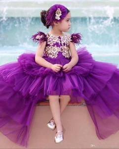 Las niñas púrpura del desfile de los vestidos de la princesa de la manga casquillo de oro Apliques partido de la muchacha de flor de los niños del niño a largo elegante Alto Bajo Prom vestidos para niños