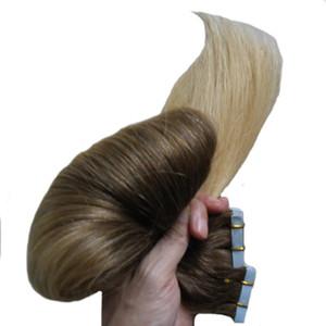 머리카락 확장에 테이프 인간 100g / lot 100 % 레미 헤어 16-24 인치 레미 ombre 헤어 익스텐션 40pieces 금발 피부 Weft