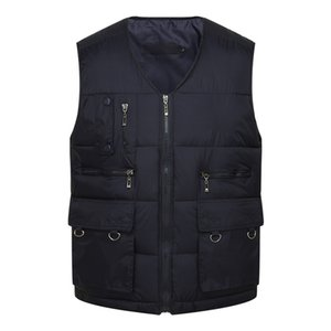 Men's Vests Winter Autumn Men Cotton Warm Vest Waistcoat Male Sleeveless Jacket With Many Pockets Casual Baggy Zipper Man Plus Size