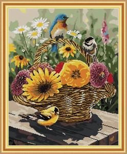 Pássaro e flor do kit cesta de casa transversal do ponto, Handmade Cross Stitch bordado Needlework kits contados impressão sobre tela DMC 14 ct / 11CT