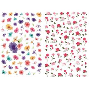 2019 Nail Slider Rose Cherry Blossom Lavendel Brief-Aufkleber-Abziehbilder Adhesive Maniküre Tips Nail Art Dekorationen