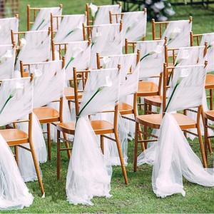 Romantico Sedia di cerimonia nuziale dei telai Flowy chiffon Chiavari telai della sedia Custom Made Blush bianco avorio decorazioni della festa nuziale di evento 150 * 200 cm