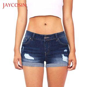 JAYCOSIN Low Waisted kurze Frauen zerrissene Washed Loch Mini Jeans-Denim-Hosen Shorts Low Rise Shorts Ein Adjustable