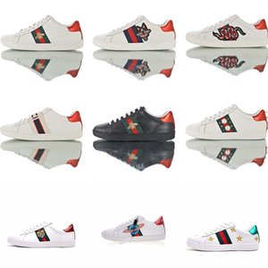 Top luxury designer platform trainer GUCCI Ace Embroidered Low-Top Sneaker Puppy little monster little bee casual Bicolor shoes sneakers Men Women shoes sneakers 36-44
