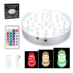 LED RGB Coaster люминесценция Декоративные лампы LED Под Vase Base Light С 5V1A адаптер USB Remote Control Line