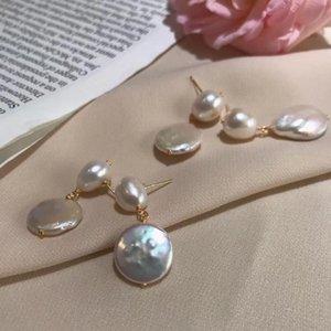 Natural de água doce barrocas Botão Mulheres pérola Drop-Brincos, INS jóias estilo pérolas com defeito de crescimento natural, estilo sucinto