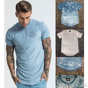 uomini casuale velluto zip maglietta di Hip Hop zip hiphop ballerino rapper t-shirt in cotone di alta qualità T-shirt abbigliamento