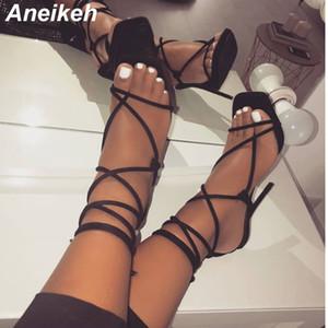 Aneikeh 2019 Neue Sommer Sexy Pu High Heels Schuhe Sandalen Gladiator Knöchel Riemchen Open Toed Stilettos Gold Party Kleid Pumps Schuh Y19070503