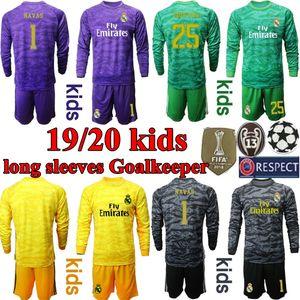 2019 2020 Real Madrid Soccers Джерси с длинными рукавами детский комплект футбольная рубашка Мадрид 19 20 Навас Куртуа вратарь мальчики молодежная футбольная форма